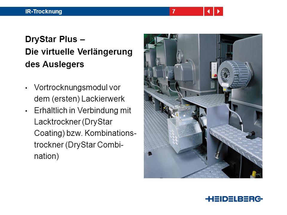 7IR-Trocknung DryStar Plus – Die virtuelle Verlängerung des Auslegers Vortrocknungsmodul vor dem (ersten) Lackierwerk Erhältlich in Verbindung mit Lac
