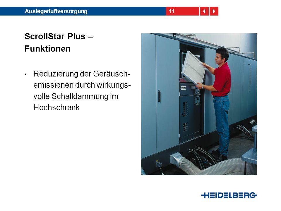 11Auslegerluftversorgung ScrollStar Plus – Funktionen Reduzierung der Geräusch- emissionen durch wirkungs- volle Schalldämmung im Hochschrank