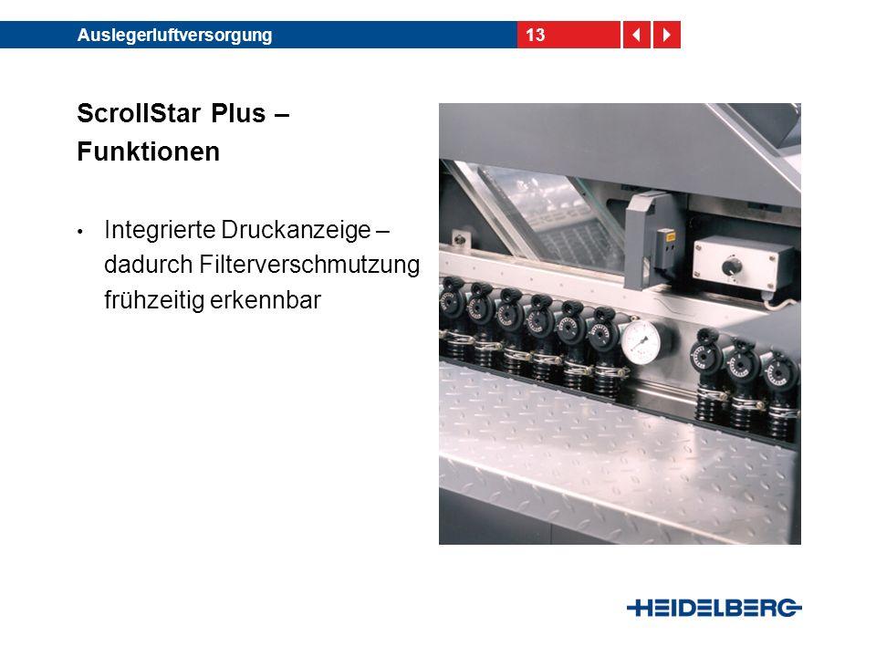 13Auslegerluftversorgung ScrollStar Plus – Funktionen Integrierte Druckanzeige – dadurch Filterverschmutzung frühzeitig erkennbar