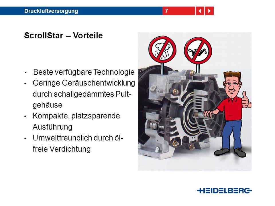 8Auslegerluftversorgung ScrollStar Plus – Eigenschaften Neue, zusätzliche Auslegerluftversor- gung für SM 102/ CD 102 Bestandteile: -Zusätzliches Luftge- bläse im ScrollStar Plus-Schrank -Zusätzliche Luftein- stellventile -Neues Bogenleitblech