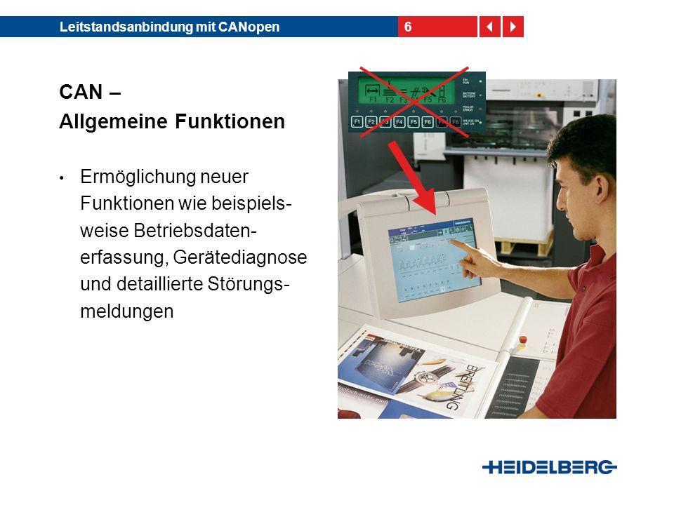 6Leitstandsanbindung mit CANopen CAN – Allgemeine Funktionen Ermöglichung neuer Funktionen wie beispiels- weise Betriebsdaten- erfassung, Gerätediagno