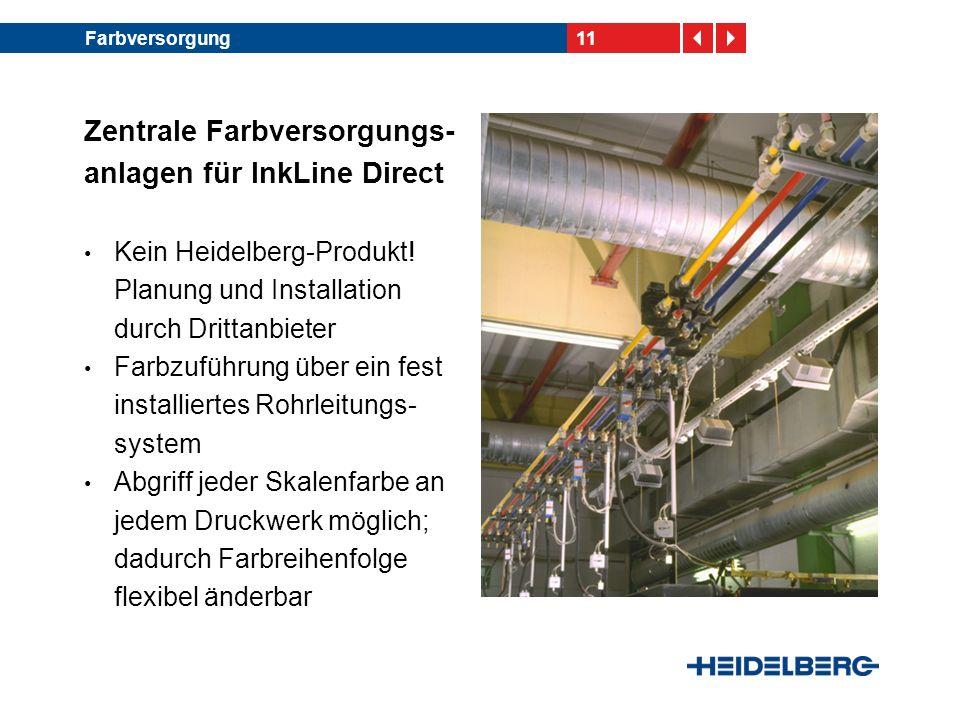 11Farbversorgung Zentrale Farbversorgungs- anlagen für InkLine Direct Kein Heidelberg-Produkt! Planung und Installation durch Drittanbieter Farbzuführ