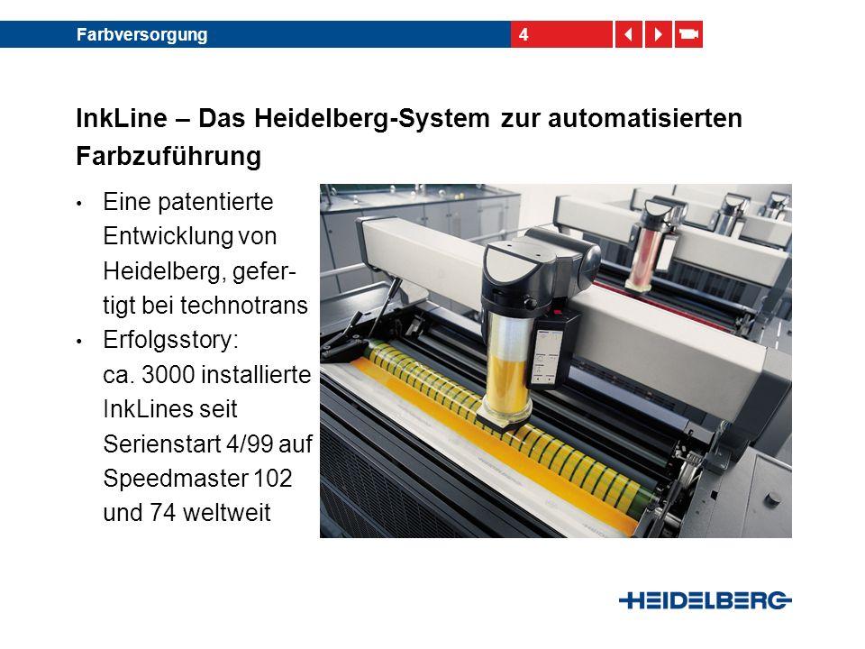 4Farbversorgung InkLine – Das Heidelberg-System zur automatisierten Farbzuführung Eine patentierte Entwicklung von Heidelberg, gefer- tigt bei technot