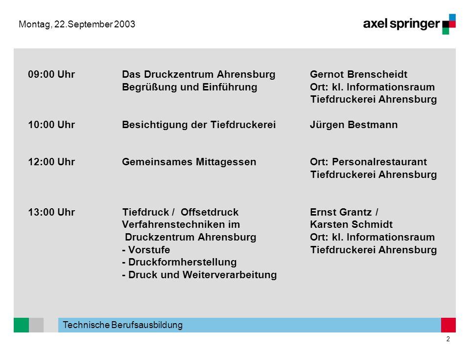Technische Berufsausbildung 2 Montag, 22.September 2003 09:00 UhrDas Druckzentrum AhrensburgGernot Brenscheidt Begrüßung und EinführungOrt: kl. Inform