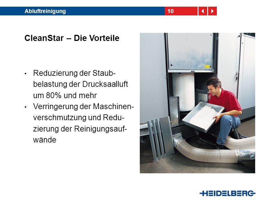 10Abluftreinigung CleanStar – Die Vorteile Reduzierung der Staub- belastung der Drucksaalluft um 80% und mehr Verringerung der Maschinen- verschmutzun