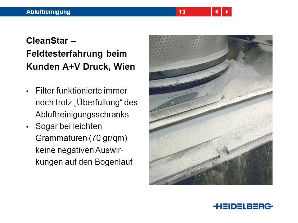 13Abluftreinigung CleanStar – Feldtesterfahrung beim Kunden A+V Druck, Wien Filter funktionierte immer noch trotz Überfüllung des Abluftreinigungsschr