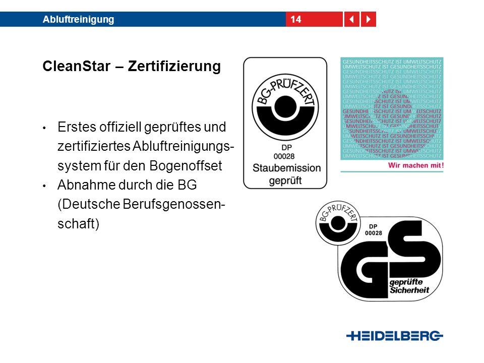 14Abluftreinigung CleanStar – Zertifizierung Erstes offiziell geprüftes und zertifiziertes Abluftreinigungs- system für den Bogenoffset Abnahme durch