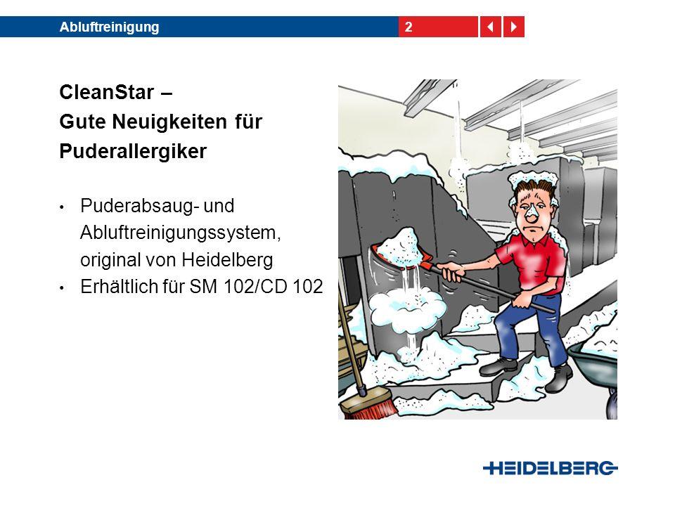 2 CleanStar – Gute Neuigkeiten für Puderallergiker Puderabsaug- und Abluftreinigungssystem, original von Heidelberg Erhältlich für SM 102/CD 102
