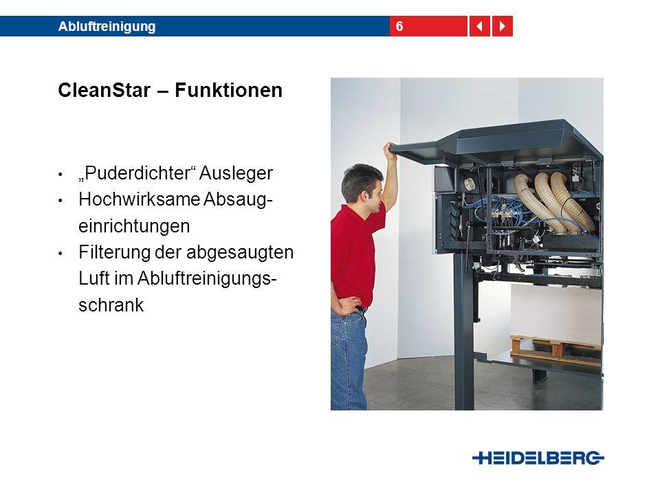 7Abluftreinigung CleanStar – Funktionen Automatische Selbst- reinigung der Filtereinheit im Abluftreinigungsschrank während des Fortdrucks Ablufthauben optional erhältlich