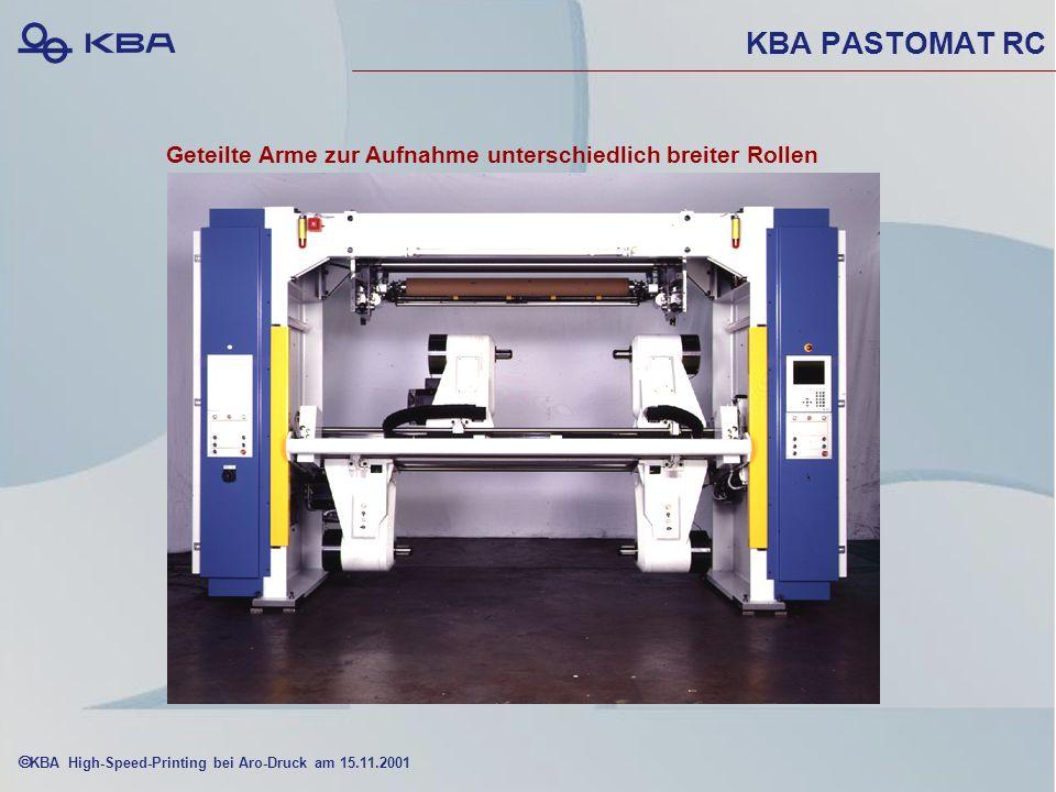 KBA High-Speed-Printing bei Aro-Druck am 15.11.2001 KBA PASTOMAT RC Geteilte Arme zur Aufnahme unterschiedlich breiter Rollen