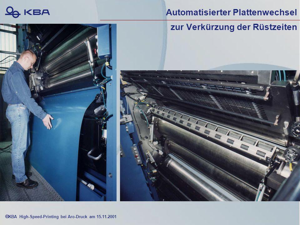 KBA High-Speed-Printing bei Aro-Druck am 15.11.2001 Automatisierter Plattenwechsel zur Verkürzung der Rüstzeiten