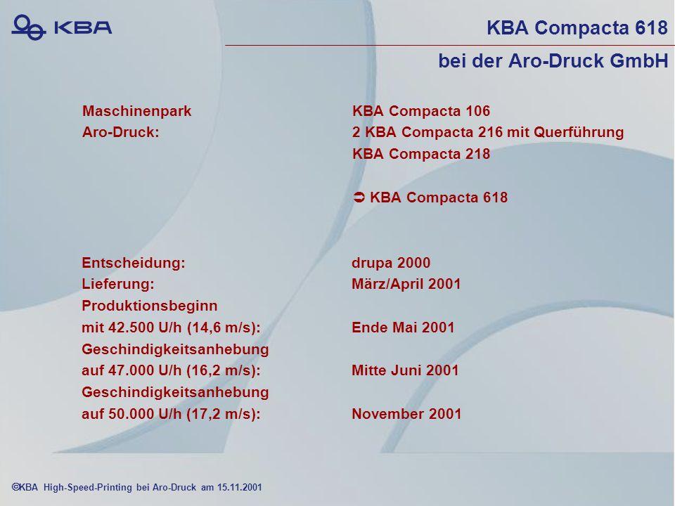 KBA High-Speed-Printing bei Aro-Druck am 15.11.2001 KBA Compacta 618 bei der Aro-Druck GmbH MaschinenparkKBA Compacta 106 Aro-Druck: 2 KBA Compacta 216 mit Querführung KBA Compacta 218 KBA Compacta 618 Entscheidung:drupa 2000 Lieferung: März/April 2001 Produktionsbeginn mit 42.500 U/h (14,6 m/s):Ende Mai 2001 Geschindigkeitsanhebung auf 47.000 U/h (16,2 m/s):Mitte Juni 2001 Geschindigkeitsanhebung auf 50.000 U/h (17,2 m/s):November 2001