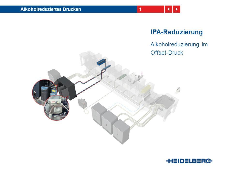 12Alkoholreduziertes Drucken Maßnahmen zur IPA- Reduzierung Feuchtmitteltemperatur und -qualität optimieren und konstant halten Feuchtmittelzusatz wechseln Platte, Gummituch, Farbe und Feuchtmittelzusatz auf- einander abstimmen