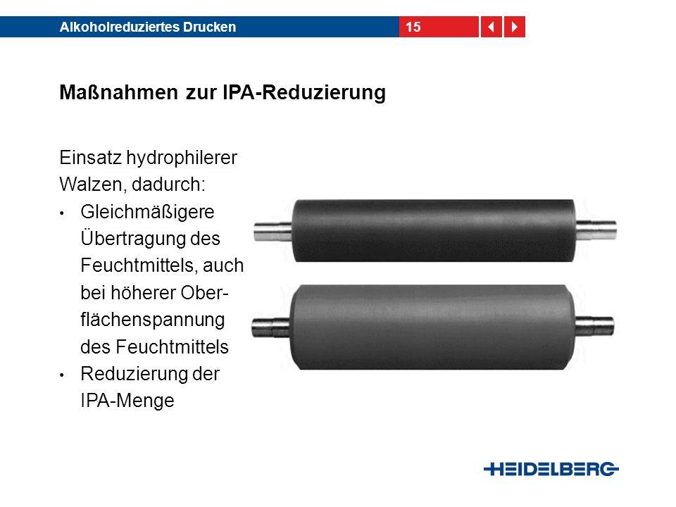 15Alkoholreduziertes Drucken Maßnahmen zur IPA-Reduzierung Einsatz hydrophilerer Walzen, dadurch: Gleichmäßigere Übertragung des Feuchtmittels, auch b