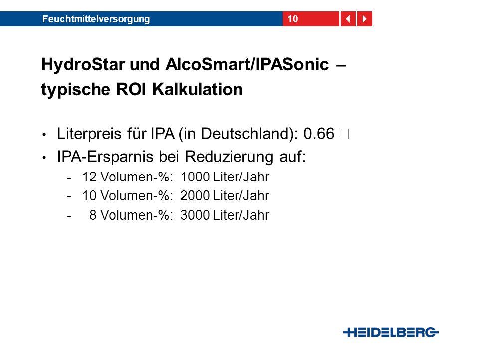 10Feuchtmittelversorgung HydroStar und AlcoSmart/IPASonic – typische ROI Kalkulation Literpreis für IPA (in Deutschland): 0.66 € IPA-Ersparnis bei Red