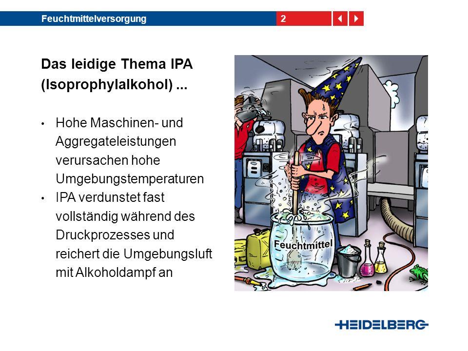 2 Das leidige Thema IPA (Isoprophylalkohol)... Hohe Maschinen- und Aggregateleistungen verursachen hohe Umgebungstemperaturen IPA verdunstet fast voll