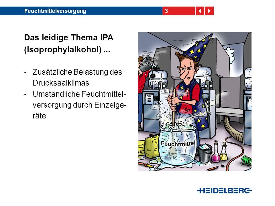 3Feuchtmittelversorgung Das leidige Thema IPA (Isoprophylalkohol)... Zusätzliche Belastung des Drucksaalklimas Umständliche Feuchtmittel- versorgung d