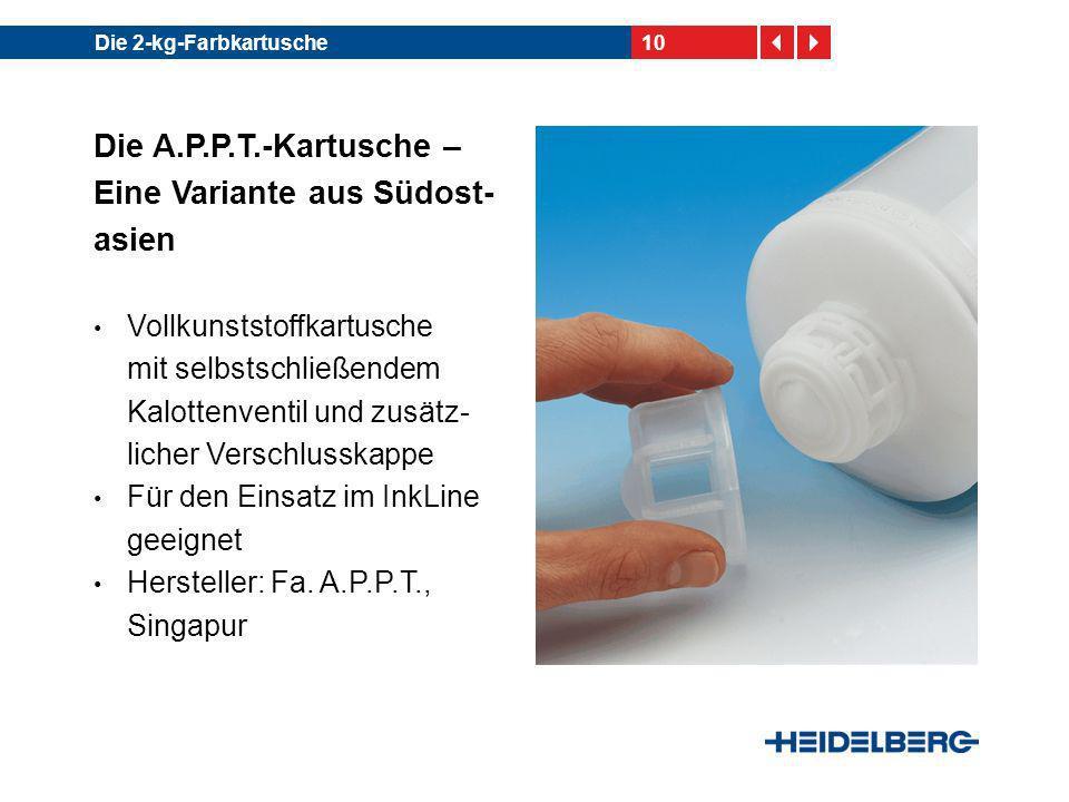 10Die 2-kg-Farbkartusche Die A.P.P.T.-Kartusche – Eine Variante aus Südost- asien Vollkunststoffkartusche mit selbstschließendem Kalottenventil und zu
