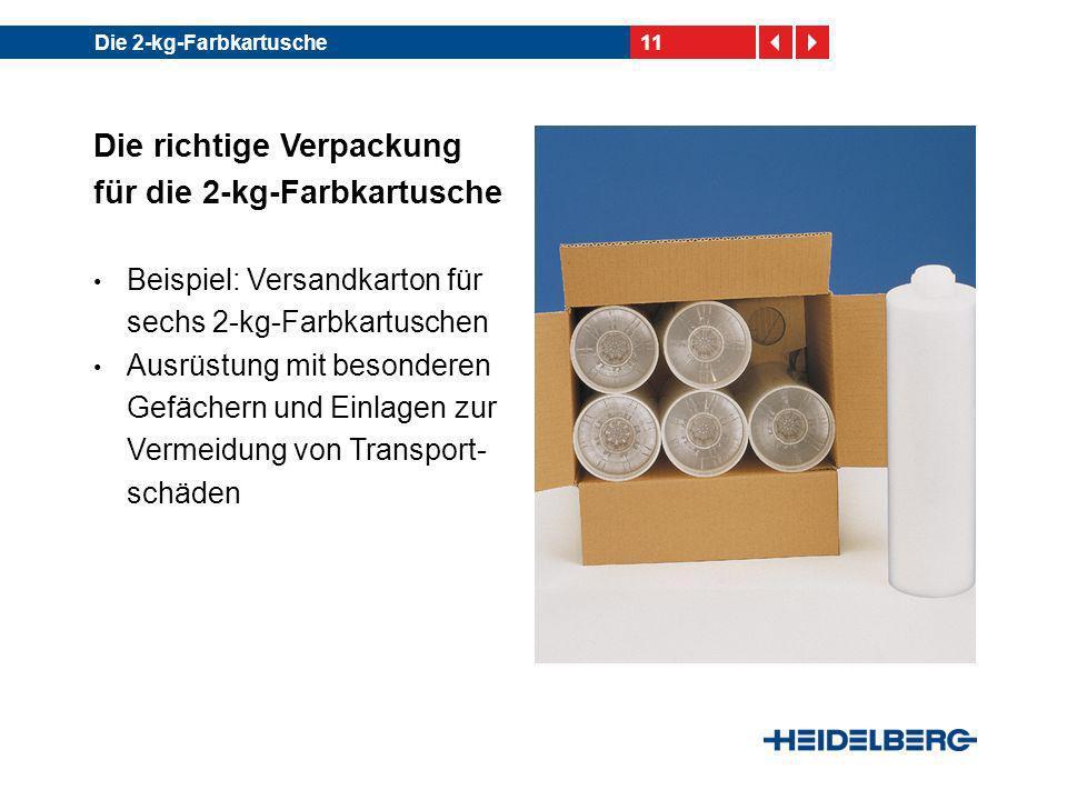 11Die 2-kg-Farbkartusche Die richtige Verpackung für die 2-kg-Farbkartusche Beispiel: Versandkarton für sechs 2-kg-Farbkartuschen Ausrüstung mit beson