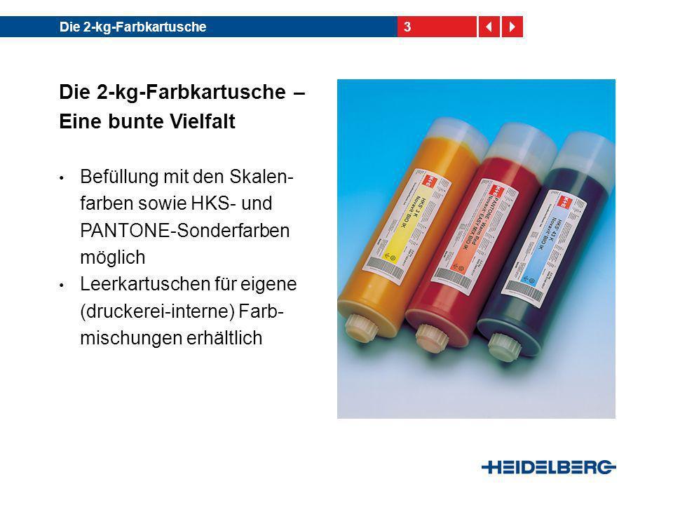 3Die 2-kg-Farbkartusche Die 2-kg-Farbkartusche – Eine bunte Vielfalt Befüllung mit den Skalen- farben sowie HKS- und PANTONE-Sonderfarben möglich Leer