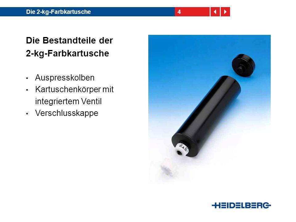5Die 2-kg-Farbkartusche Die RS-Kartusche – auch Kreuzschlitzkartusche genannt Vollkunststoffkartusche mit Kreuzschlitzventil Schraubkappe für einen luftdichten Verschluss Für den Einsatz im InkLine nicht geeignet Hersteller: Fa.