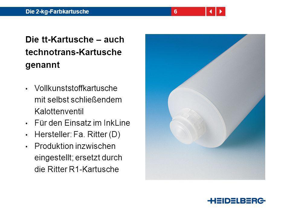 7Die 2-kg-Farbkartusche Die R1-Kartusche – auch Ritter-Kartusche genannt Vollkunststoffkartusche mit selbst schließendem Kalottenventil Zusätzliche Verschlusskappe (Bajonettverschluss) als Schutz für das Kartuschen- ventil