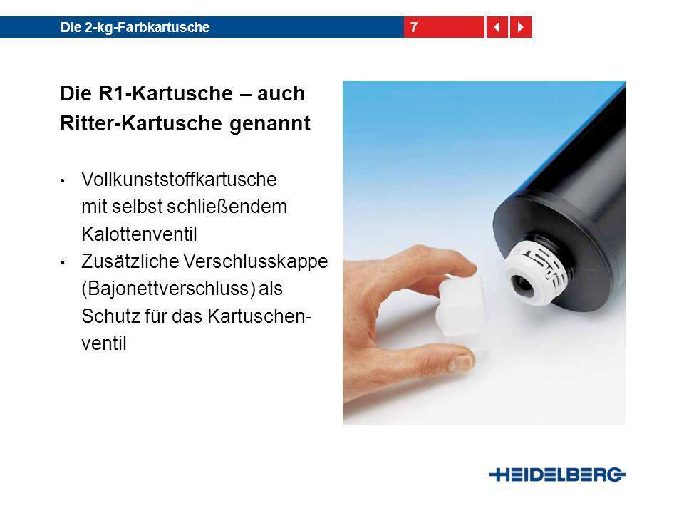 8Die 2-kg-Farbkartusche Die R1-Kartusche – auch Ritter-Kartusche genannt Auch für die Befüllung mit UV-Farben geeignet Ab Version R1.9 für den Einsatz im InkLine geeignet Hersteller: Fa.