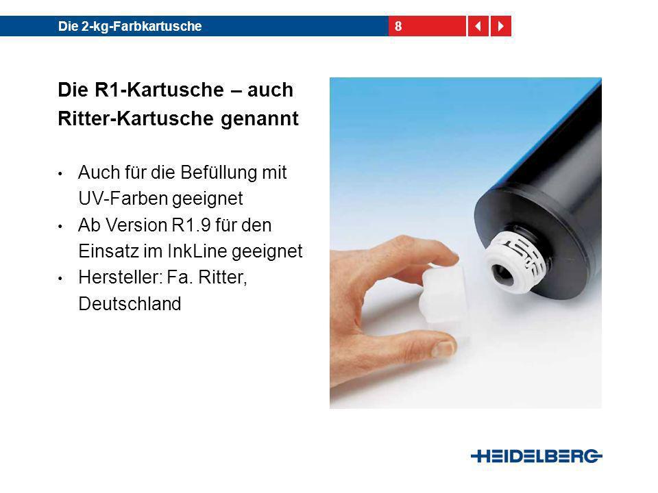 8Die 2-kg-Farbkartusche Die R1-Kartusche – auch Ritter-Kartusche genannt Auch für die Befüllung mit UV-Farben geeignet Ab Version R1.9 für den Einsatz