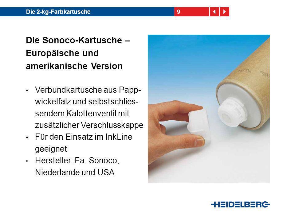 10Die 2-kg-Farbkartusche Die A.P.P.T.-Kartusche – Eine Variante aus Südost- asien Vollkunststoffkartusche mit selbstschließendem Kalottenventil und zusätz- licher Verschlusskappe Für den Einsatz im InkLine geeignet Hersteller: Fa.