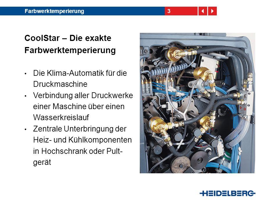 4Farbwerktemperierung CoolStar – Funktionen Temperierung in jedem Druckwerk: -Bei SM 102/CD 102 und CD 74/ SM 74/SM 74 DI: drei Farb- reiber sowie die Duktorwalze -Bei SM 52: zwei Farbreiber sowie die Duktorwalze Kühlung bzw.