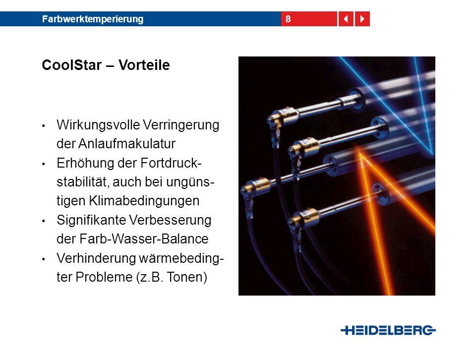 9Farbwerktemperierung CoolStar – Vorteile Ermöglichung hoher Fort- druckgeschwindigkeiten und somit hoher Produktivität Beitrag zur IPA-Reduzierung Voraussetzung für den wasserlosen Offset-Druck