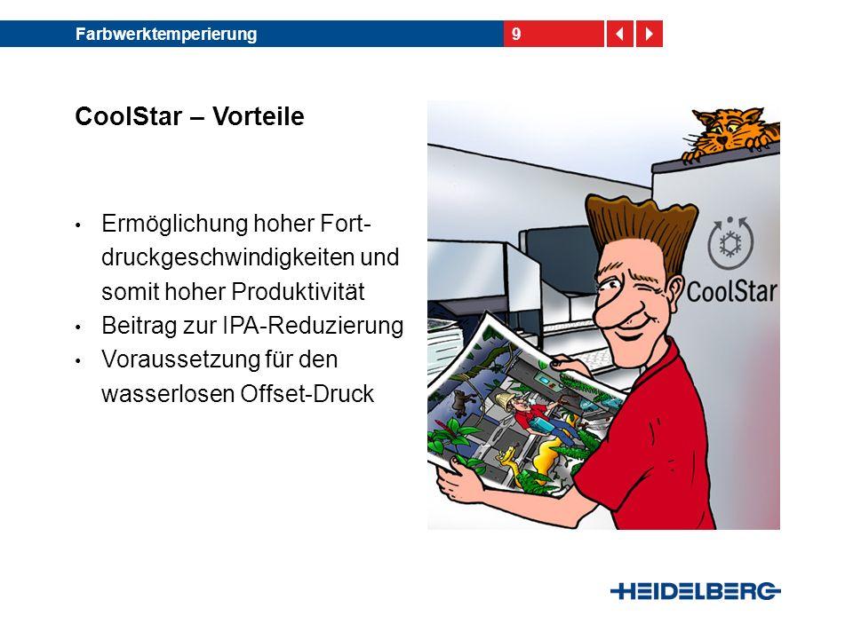 9Farbwerktemperierung CoolStar – Vorteile Ermöglichung hoher Fort- druckgeschwindigkeiten und somit hoher Produktivität Beitrag zur IPA-Reduzierung Vo