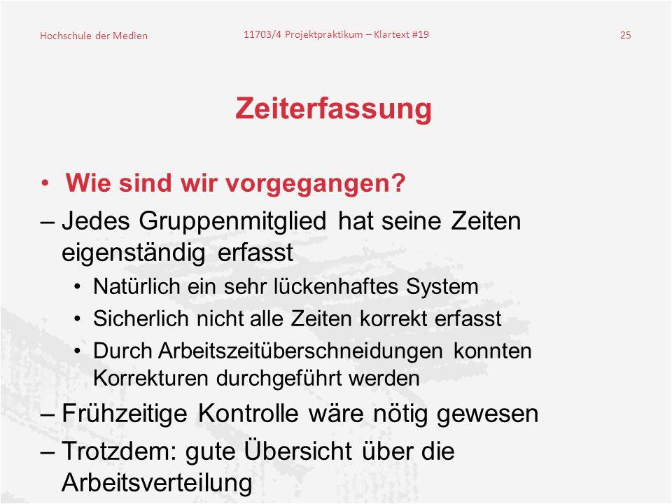 Hochschule der Medien 11703/4 Projektpraktikum – Klartext #19 25 Zeiterfassung Wie sind wir vorgegangen.