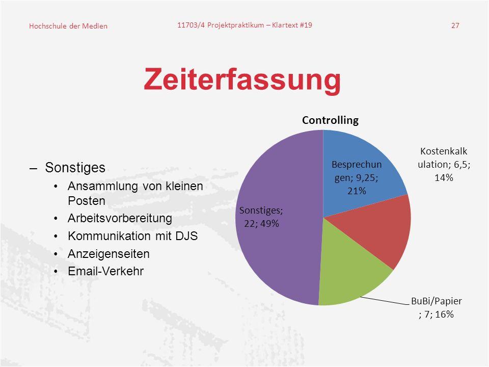 Hochschule der Medien 11703/4 Projektpraktikum – Klartext #19 27 Zeiterfassung –Sonstiges Ansammlung von kleinen Posten Arbeitsvorbereitung Kommunikation mit DJS Anzeigenseiten Email-Verkehr