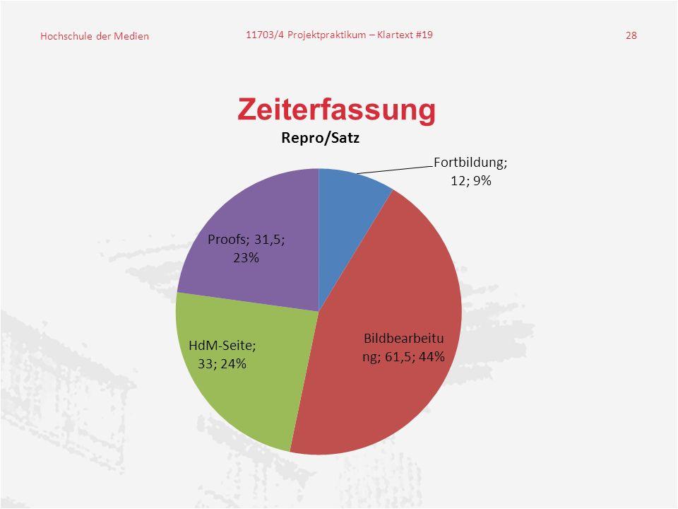 Hochschule der Medien 11703/4 Projektpraktikum – Klartext #19 28 Zeiterfassung