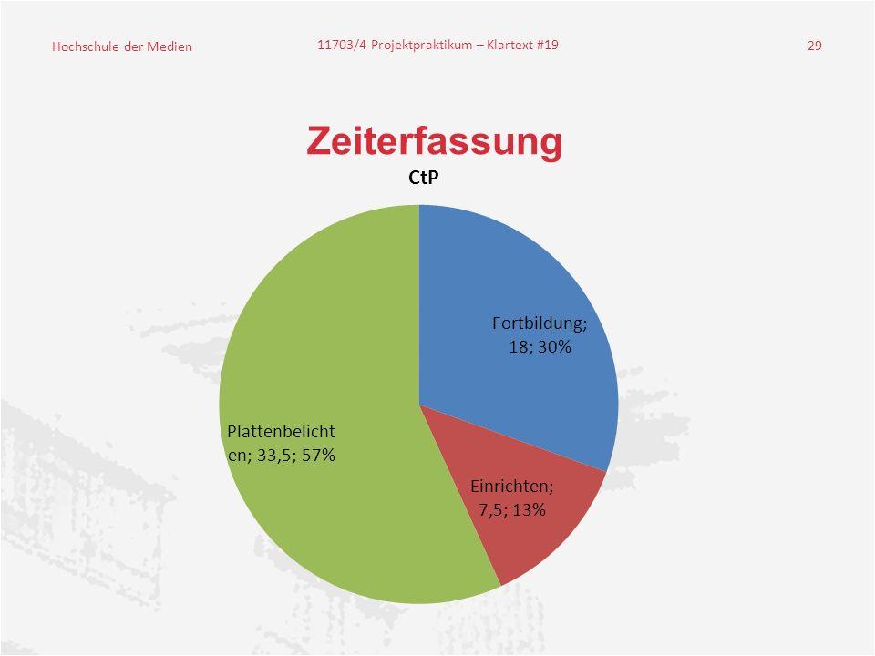 Hochschule der Medien 11703/4 Projektpraktikum – Klartext #19 29 Zeiterfassung