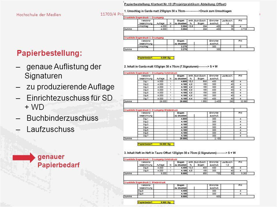 Hochschule der Medien 11703/4 Projektpraktikum – Klartext #19 9 Papierbestellung: – genaue Auflistung der Signaturen – zu produzierende Auflage – Einrichtezuschuss für SD + WD – Buchbinderzuschuss – Laufzuschuss genauer Papierbedarf