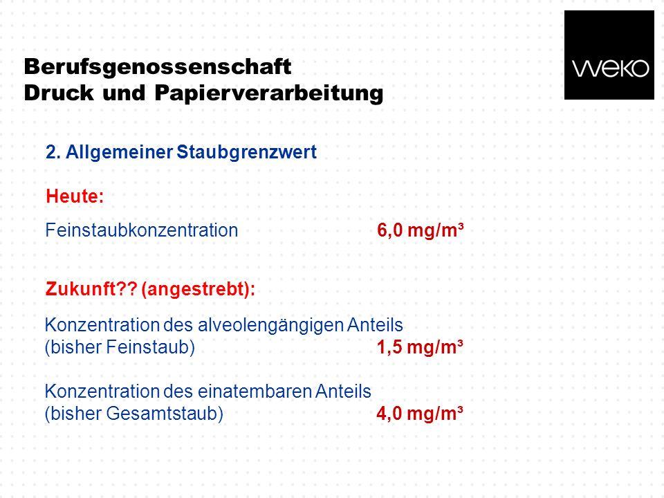 Berufsgenossenschaft Druck und Papierverarbeitung 2. Allgemeiner Staubgrenzwert Heute: Feinstaubkonzentration6,0 mg/m³ Konzentration des alveolengängi