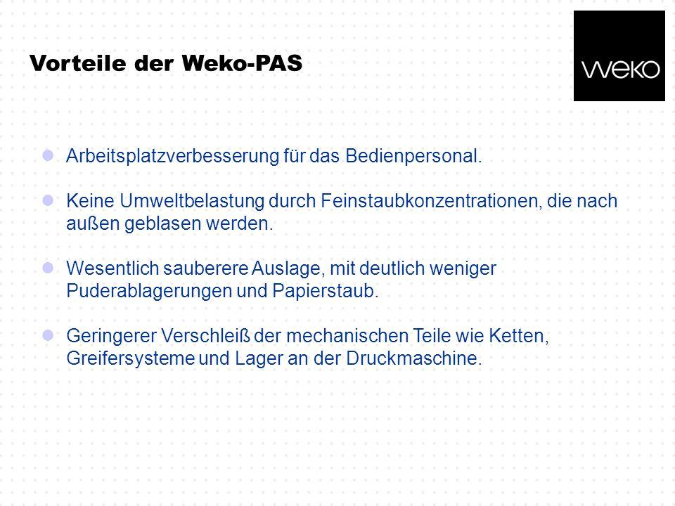 Vorteile der Weko-PAS Arbeitsplatzverbesserung für das Bedienpersonal.