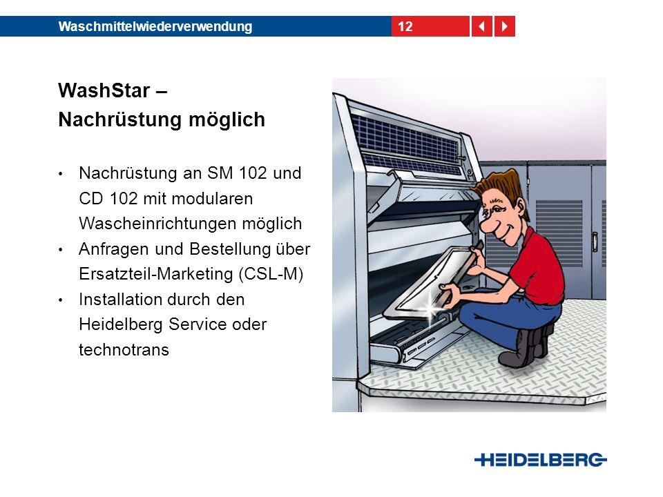 12Waschmittelwiederverwendung WashStar – Nachrüstung möglich Nachrüstung an SM 102 und CD 102 mit modularen Wascheinrichtungen möglich Anfragen und Bestellung über Ersatzteil-Marketing (CSL-M) Installation durch den Heidelberg Service oder technotrans