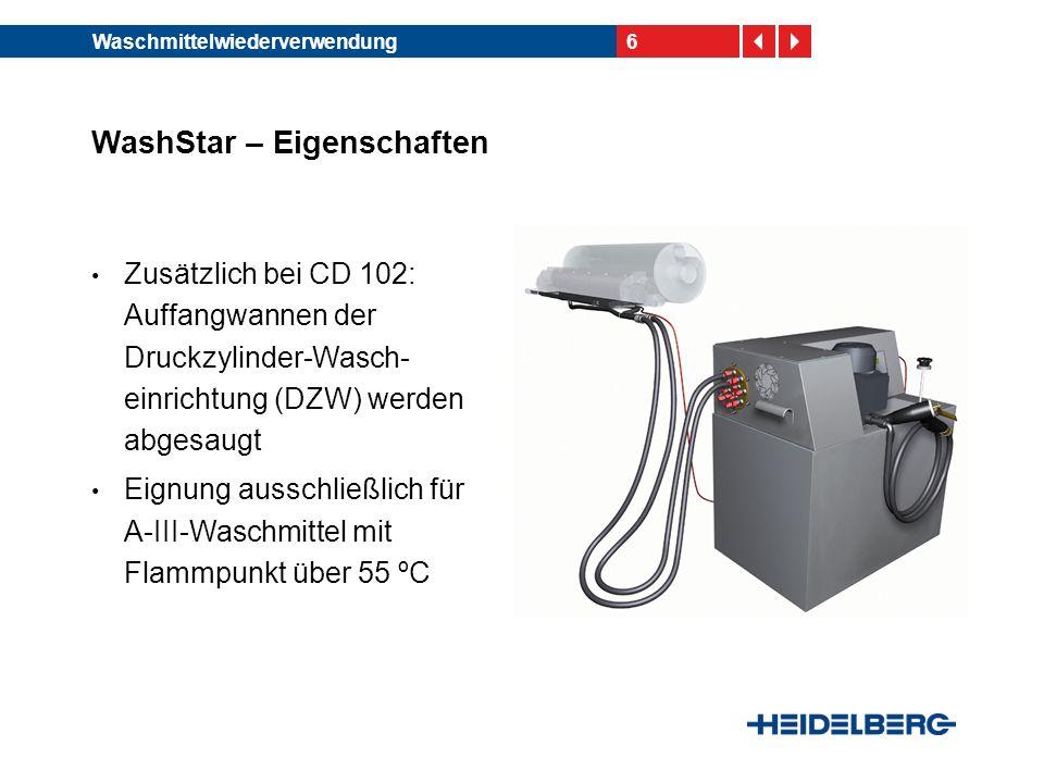 6Waschmittelwiederverwendung WashStar – Eigenschaften Zusätzlich bei CD 102: Auffangwannen der Druckzylinder-Wasch- einrichtung (DZW) werden abgesaugt Eignung ausschließlich für A-III-Waschmittel mit Flammpunkt über 55 ºC