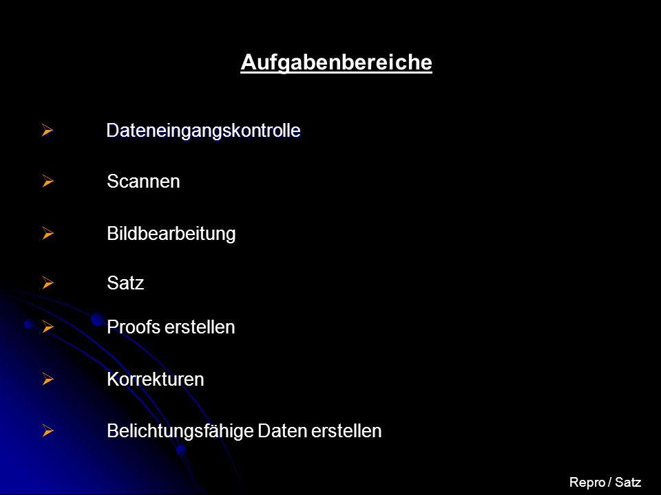 Satz / Repro Probleme – Eine kleine Auswahl Zugesagter Termin für Datenanlieferung wurde nicht eingehalten Personal für die Dokumenterstellung in München hatte keine ausreichenden Kenntnisse in QuarkXPress Anlieferung falscher Bilder Datentiefe angelieferter Bilder war nicht ausreichend Hardwareprobleme in der Repro