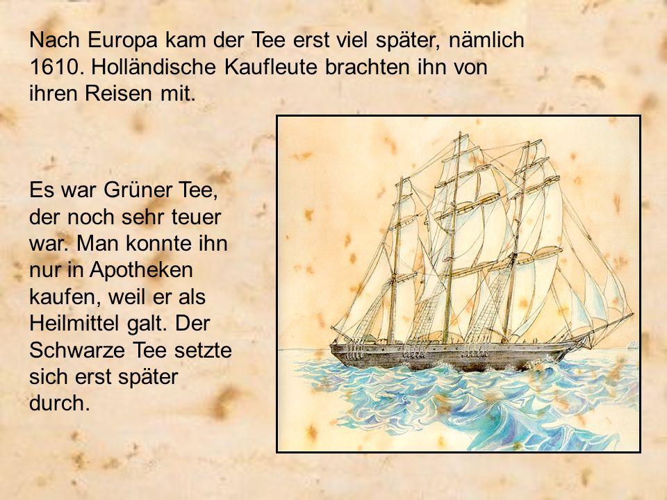 Nach Europa kam der Tee erst viel später, nämlich 1610. Holländische Kaufleute brachten ihn von ihren Reisen mit. Es war Grüner Tee, der noch sehr teu