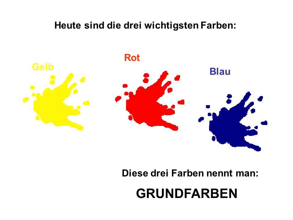 Heute sind die drei wichtigsten Farben: Gelb Rot Blau Diese drei Farben nennt man: GRUNDFARBEN