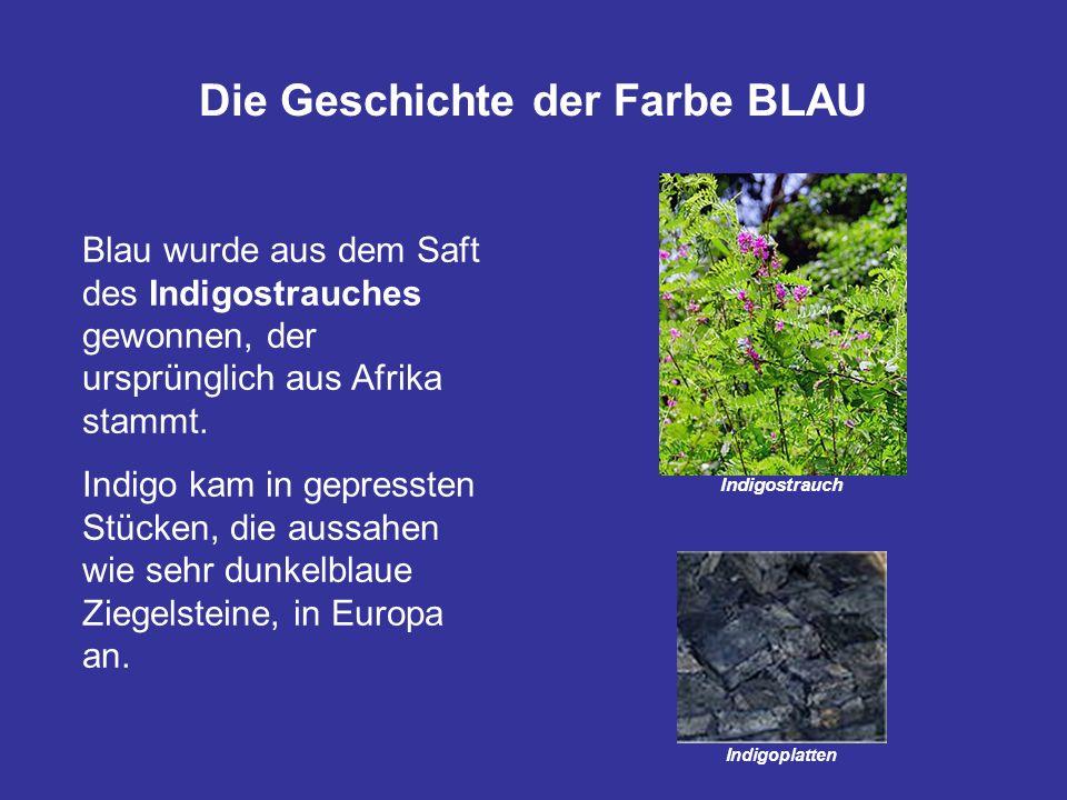 Die Geschichte der Farbe BLAU Indigostrauch Blau wurde aus dem Saft des Indigostrauches gewonnen, der ursprünglich aus Afrika stammt. Indigo kam in ge