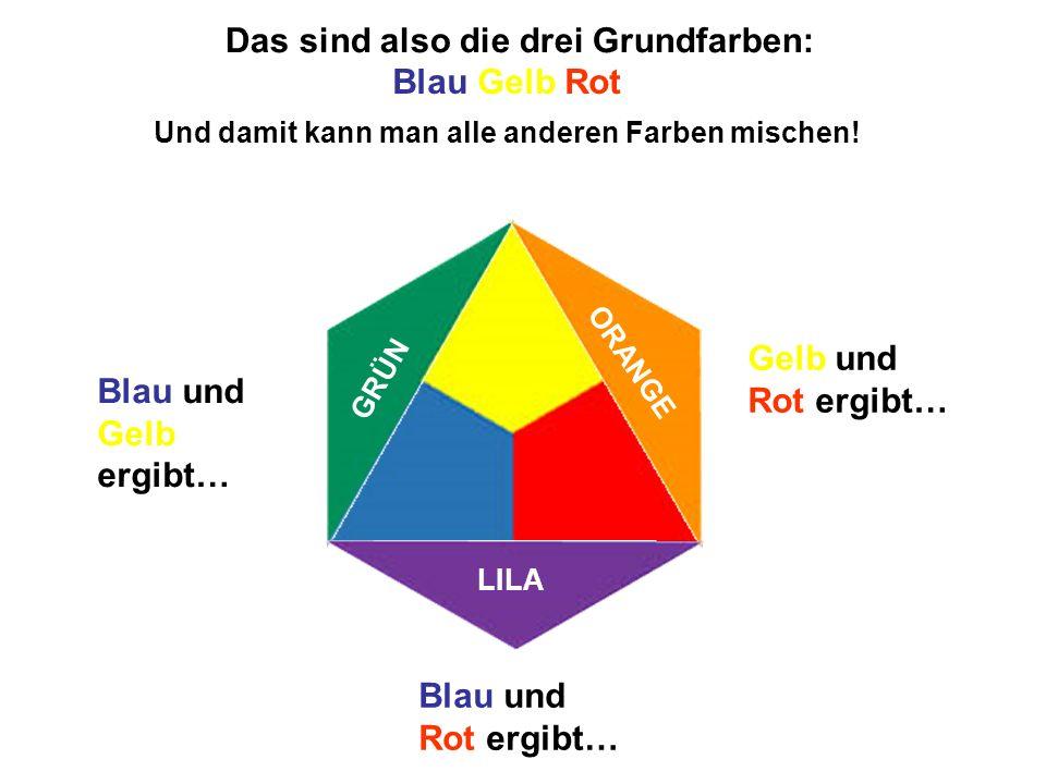 Das sind also die drei Grundfarben: Und damit kann man alle anderen Farben mischen! Blau und Gelb ergibt… Gelb und Rot ergibt… Blau und Rot ergibt… GR