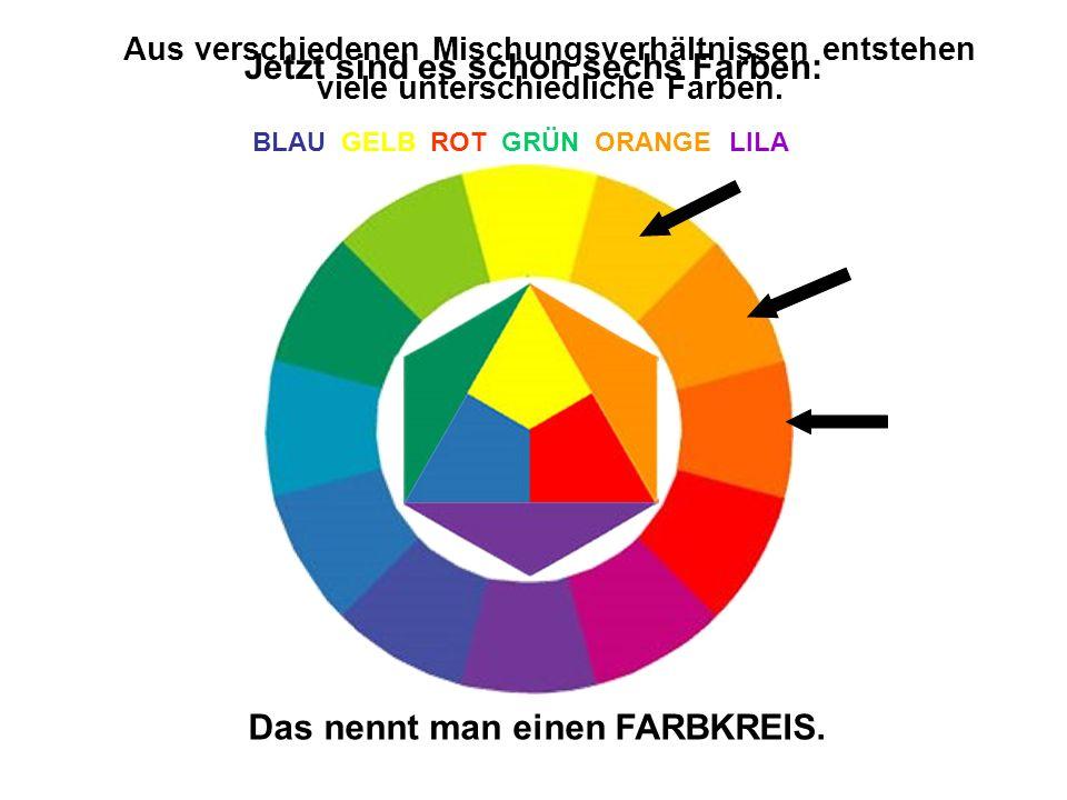 Jetzt sind es schon sechs Farben: BLAU GELB ROT GRÜN ORANGE LILA Aus verschiedenen Mischungsverhältnissen entstehen viele unterschiedliche Farben. Das
