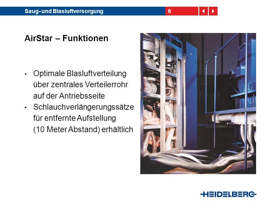 6Saug- und Blasluftversorgung AirStar – Funktionen Optimale Blasluftverteilung über zentrales Verteilerrohr auf der Antriebsseite Schlauchverlängerung