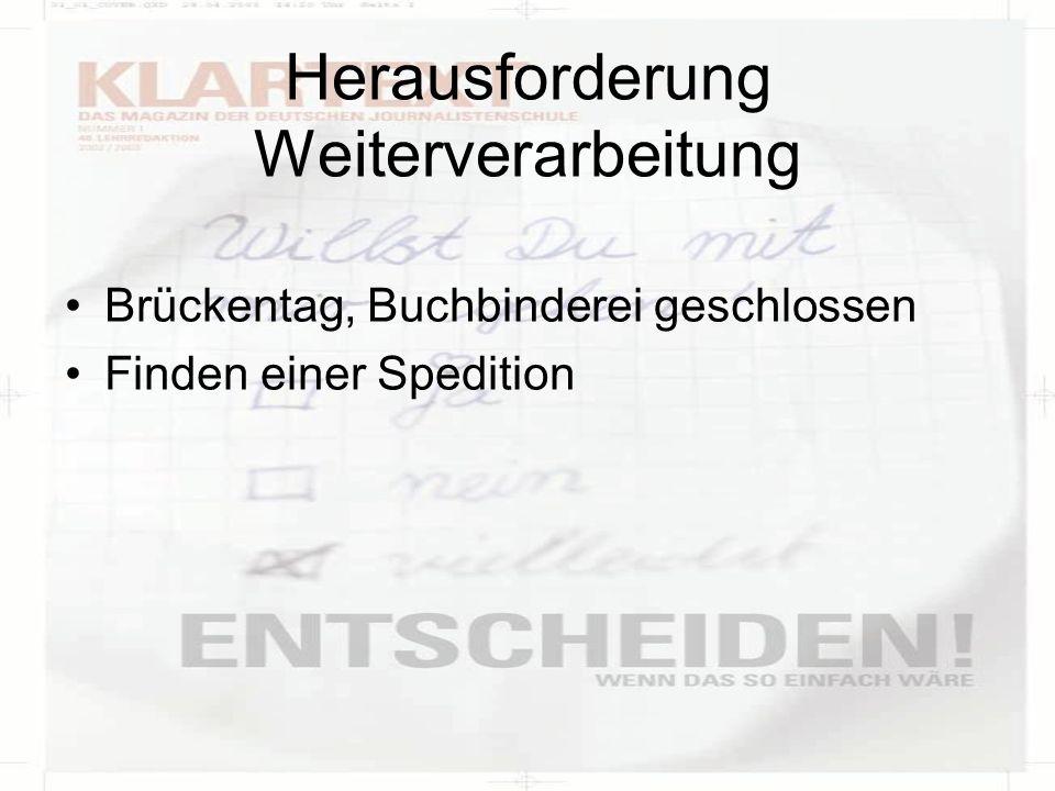 Herausforderung Weiterverarbeitung Brückentag, Buchbinderei geschlossen Finden einer Spedition