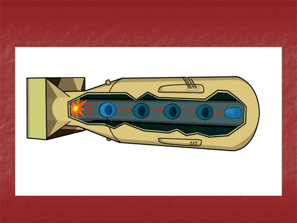 Implosion Fat Man Aufbau: in der Mitte spaltbares Material meistens Uran oder Plutonium In einer hohlkugelförmigen Formation angeordnet ist von einer großen Menge Sprengstoff umgeben Zündung: Sprengstoff wird gezündet durch den hohen Druck wird das Uran bzw.